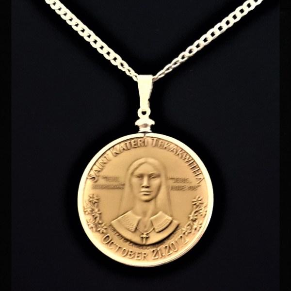Saint Kateri Tekakwitha Medal by Garrison Garrow A Mohawk Artist1.50 in 38.00 x 4.40 mm Coin Edge Sterling Silver Plated Bezel Sterling Silver Chain rev 8+18+5+18=69 REV v2