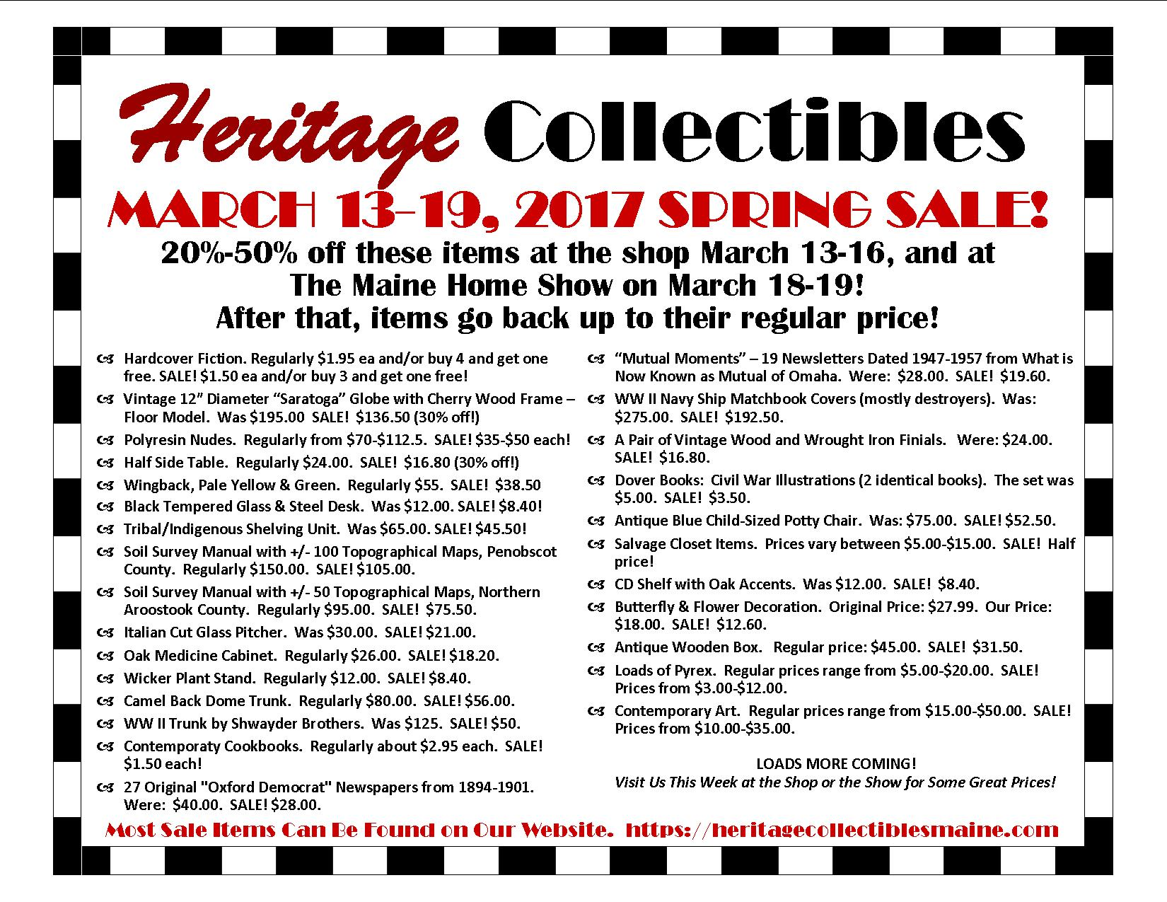 SALE!  Week of March 13-19, 2017 Only!