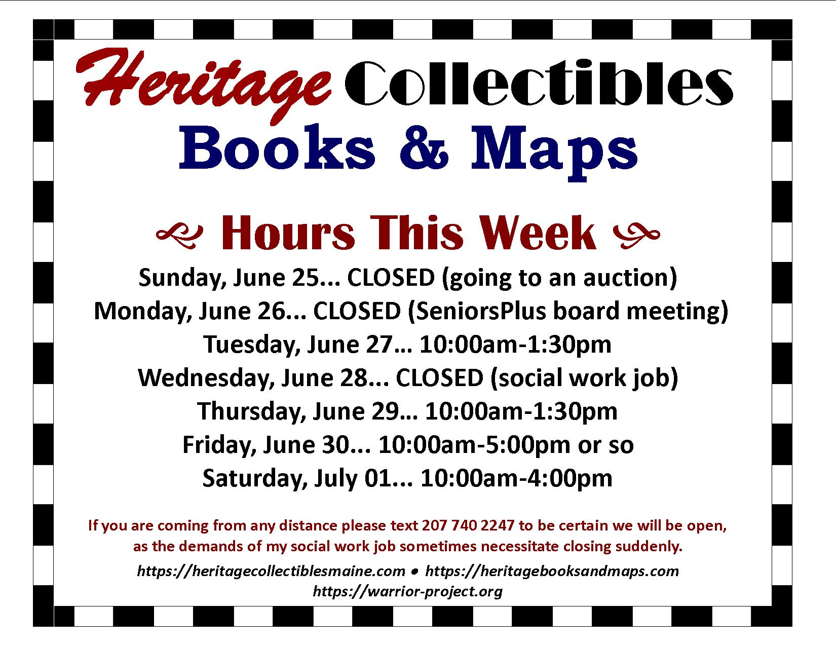 Hours for the Week of 06/25-07/01, 2017 – As Always, We Have Vintage, Kitsch, Retro, and Some Junk!