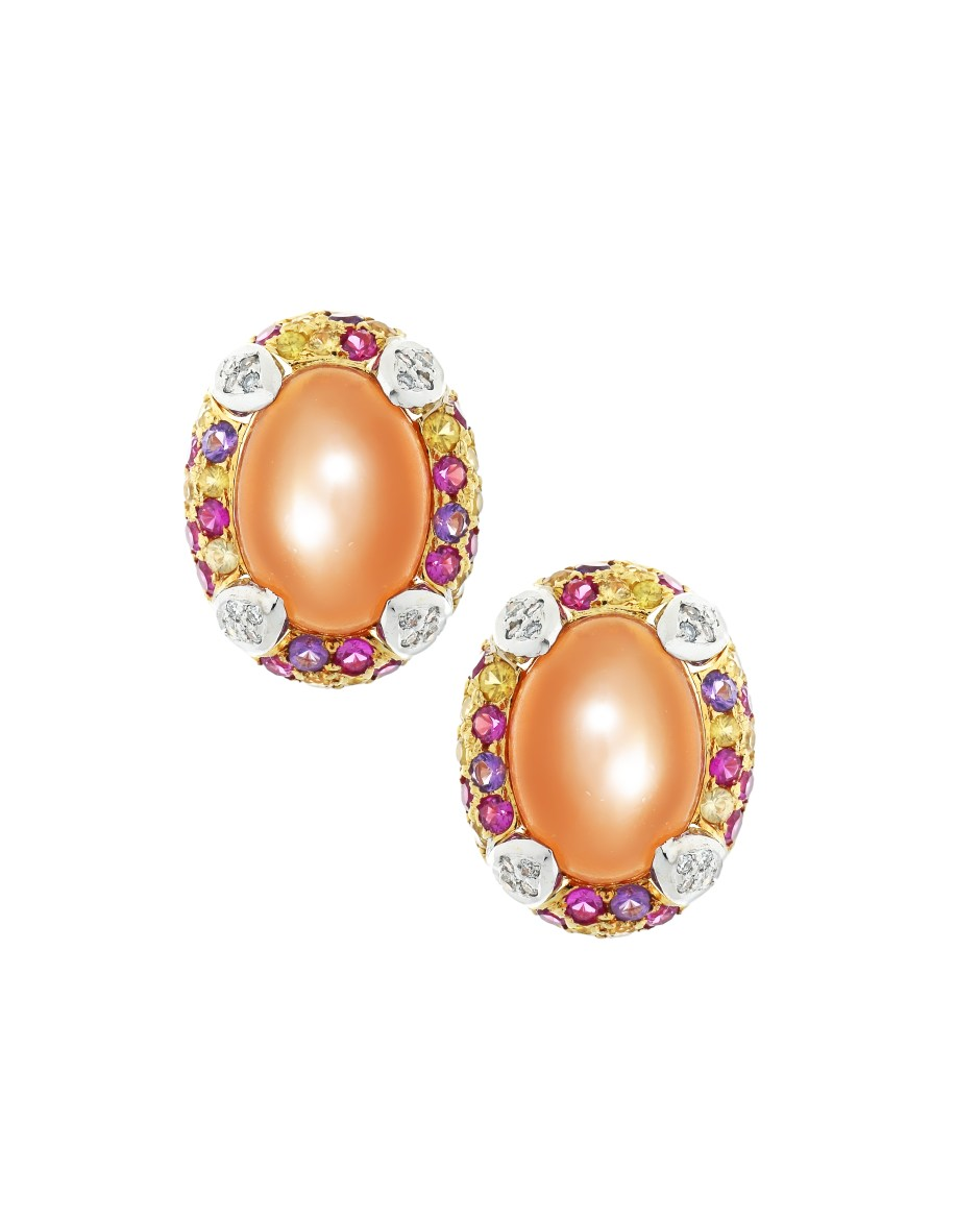 Orange Cabochon Earrings