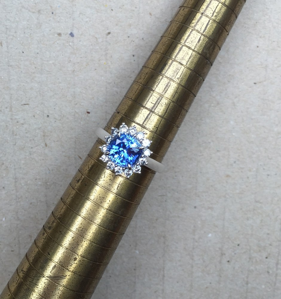 ice blue sapphire engagement ring