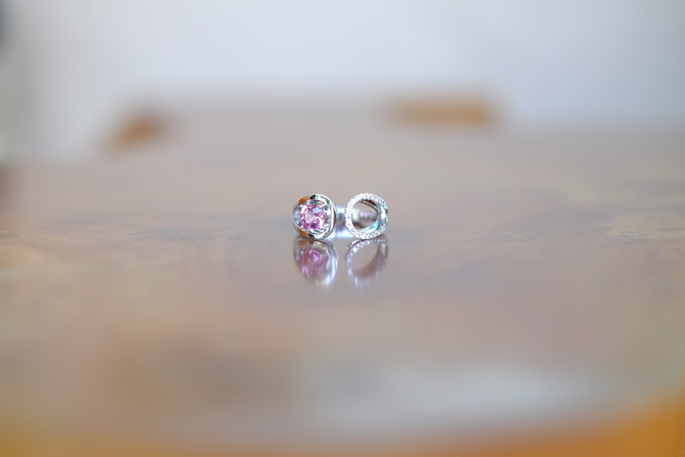 Modern Pink Spinel Wedding Band