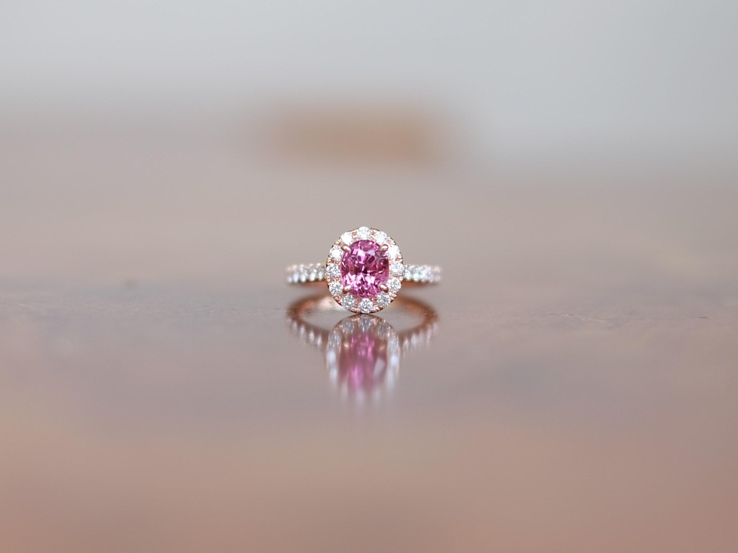 Pink Spinel Engagement Ring 18K Rose Gold
