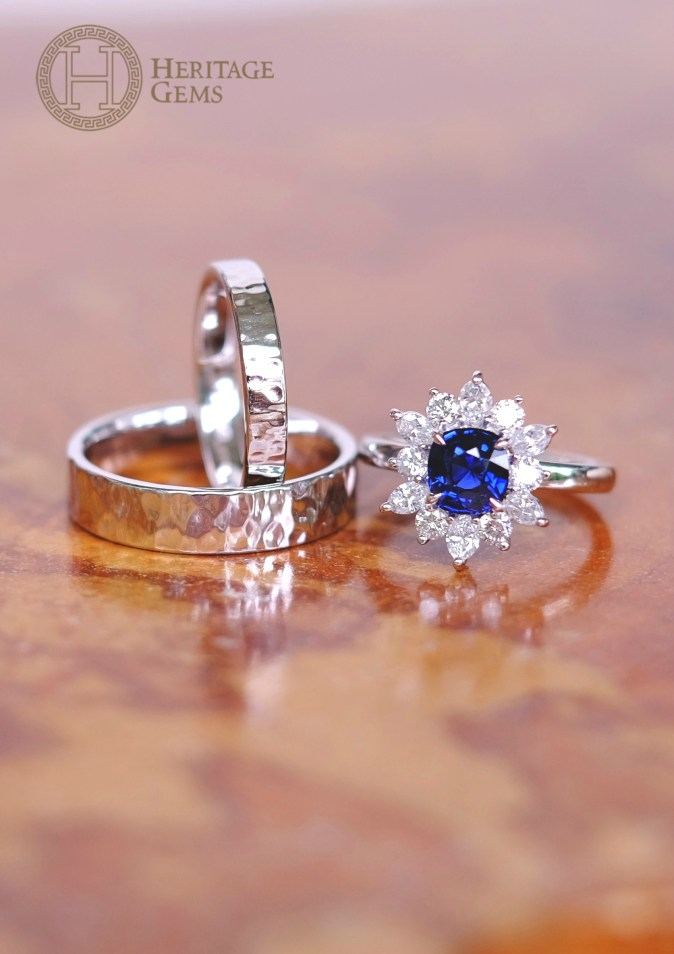 SnowflakeSapphireWeddingBandSet