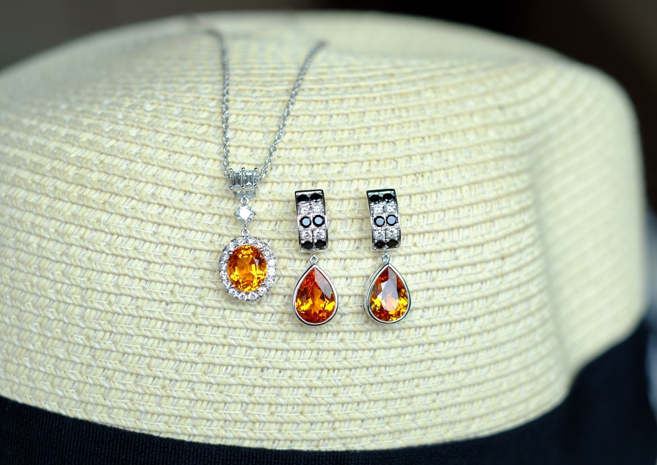 Mandarin Spessatite and Spinel Earrings