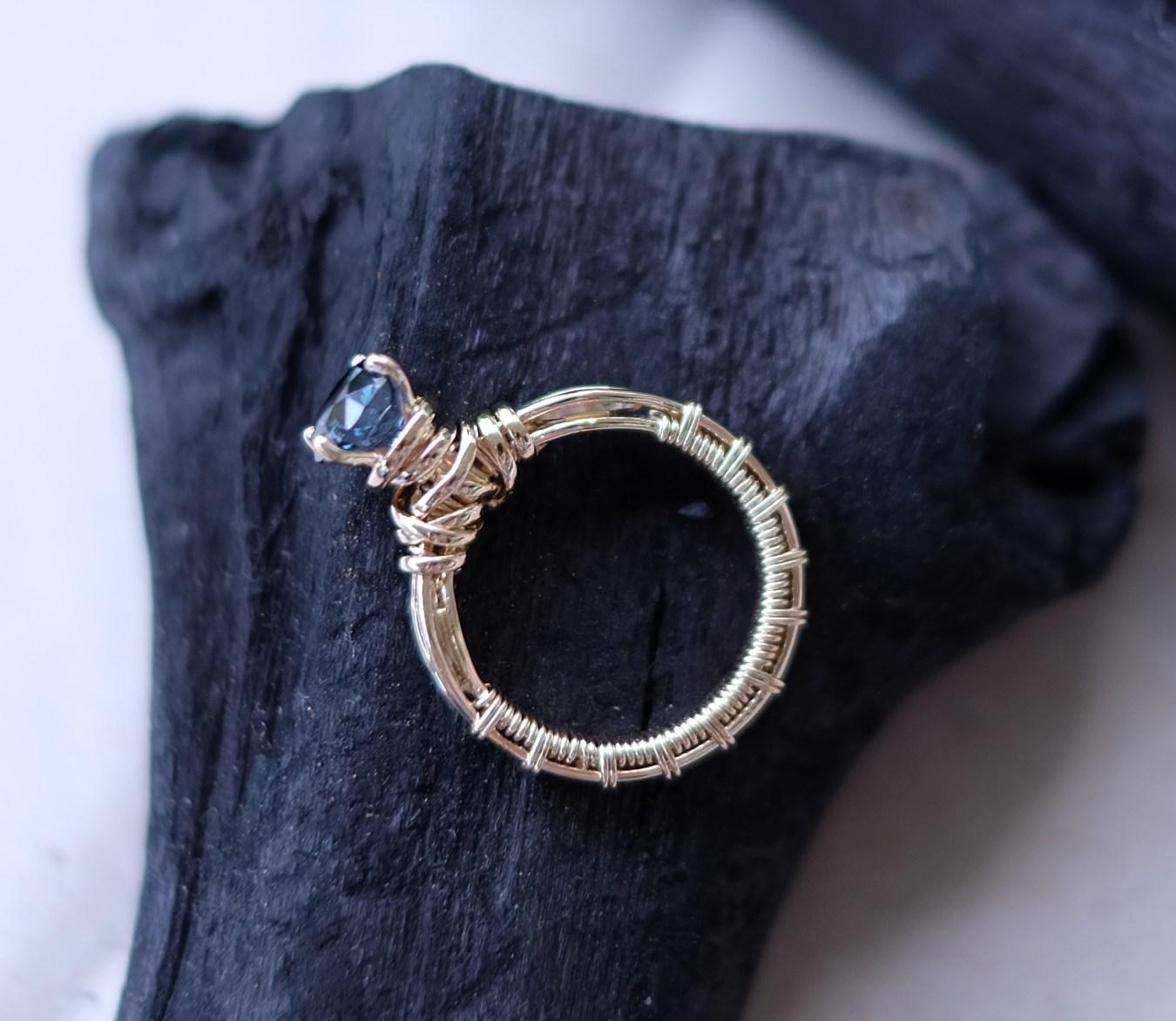 Blue Grey Spinel in Wire Wraparound Design