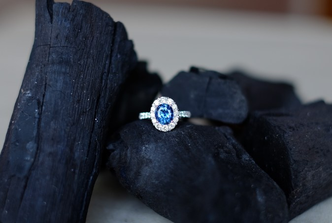 Blue Spinel Engagement Ring