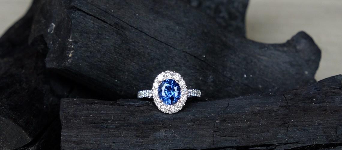 Blue Spinel Engagement Ring 18K White Gold