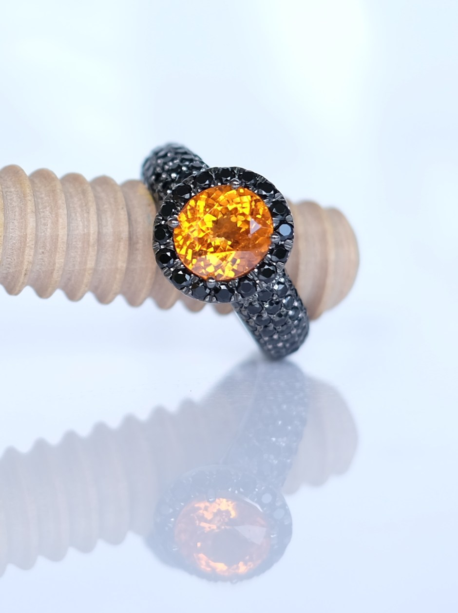 Mandarin Spessatite Ring and Black Spinel Singapore