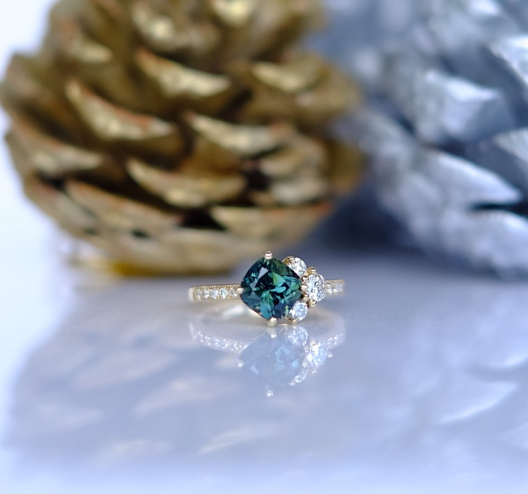 Mysterious Green Sapphire and Diamond Ring