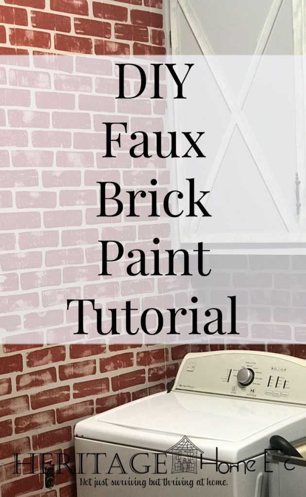 DIY Faux Brick Paint Tutorial- Heritage Home Ec I came up with a DIY Faux Brick Paint technique to use to bring some of our outside brick in. Read on for the full tutorial. | Faux Paint | Faux Brick | Home Decor | Tutorial | Home Economics |