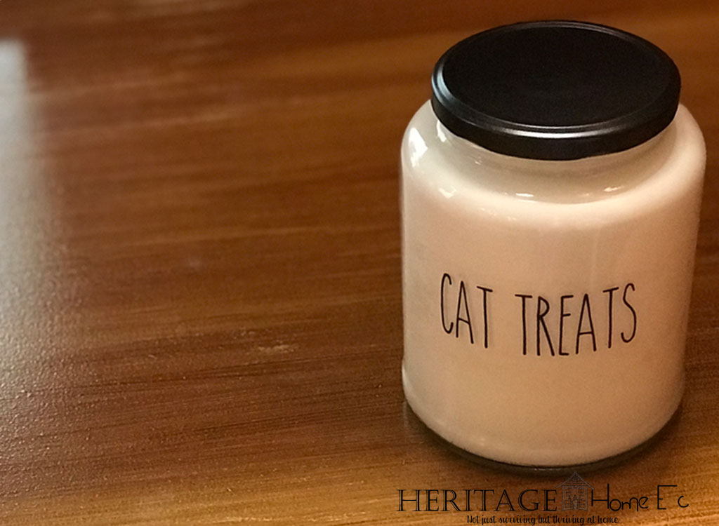 DIY Rae Dunn Inspired Treats Jar- Heritage Home Ec I adore the look of the Rae Dunn containers, just not the price.  So I created my own DIY Rae Dunn inspired treats jar.  Let me show you how!  | Crafts | DIY | Pets | Containers | Home Economics |