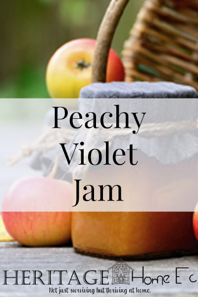 Peachy Violet Jam- Heritage Home Ec Use some of your foraged violets to add a flowery note to this lovely peach jam. | Jams & Jellies | Preserves | Foraging | Food | Recipes |