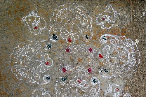 Chalk (rangoli) decorations