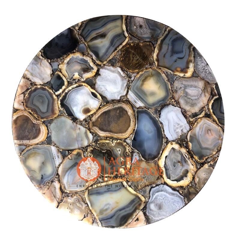 agate round coffee table top handmade furniture decor