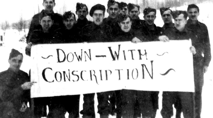 'Down with Conscription.' November 1944. Terrace Standard Collection at Heritage Park Museum.