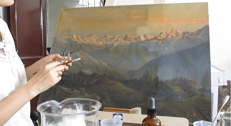 Conservation of an oil on canvas painting