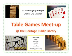 Table Games Meet-up @ Heritage Public LIbrary | Charles City | Virginia | United States