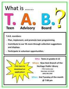 T.A.B. Meeting @ Heritage Public Library | New Kent | Virginia | United States