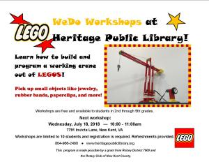 Lego Robotics @ Heritage Public Library | New Kent | Virginia | United States