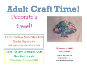 Adult Craft Time - Decorate a towel! @ Heritage Public Library - Charles City Location | Charles City | Virginia | United States
