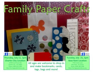 Family Paper Crafts - CC @ Heritage Public Library | Charles City | Virginia | United States