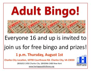 Adult Bingo! @ Heritage Public Library - Charles City Location | Charles City | Virginia | United States