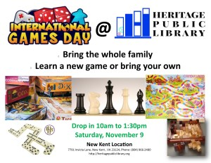 International Games Day @ Heritage Public LIbrary | New Kent | Virginia | United States