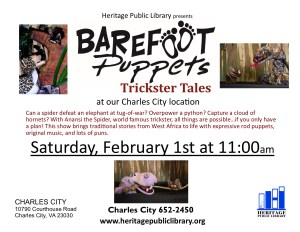 "Barefoot Puppets ""Trickster Tales"" @ Heritage Public Library 