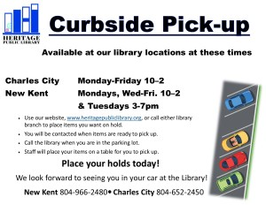 Curbside Service - CC @ Heritage Public Library | Charles City | Virginia | United States