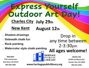 POSTPONED - Express Yourself Outdoor Art Day! @ Heritage Public Library | New Kent | Virginia | United States