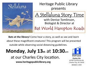 """Stellaluna"" Storytime with Live Bats @ Heritage Public Library 