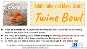 Adult Take & Make Craft - Twine Bowl @ Heritage Public Library