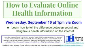 How to Evaluate Online Health Information @ Heritage Public Library