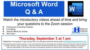 Microsoft Word Q & A @ Heritage Public Library