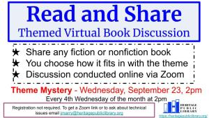 Themed Virtual Book Discussion @ Heritage Public Library