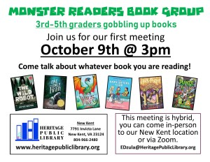 Monster Readers Book Group - NK @ Heritage Public Library | New Kent | Virginia | United States