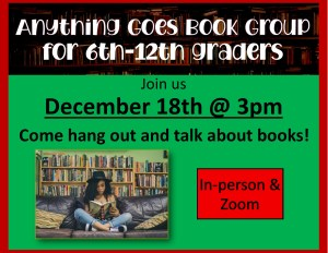 Anything Goes Book Group for 6th- 12th Graders @ Heritage Public Library | New Kent | Virginia | United States