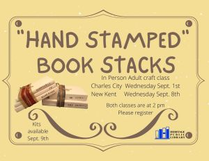 """""""Hand Stamped"""" Book Stacks Craft - CC @ Heritage Public Library   Charles City   Virginia   United States"""