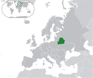Map of Europe with Belarus in green. Wikimedia Commons.