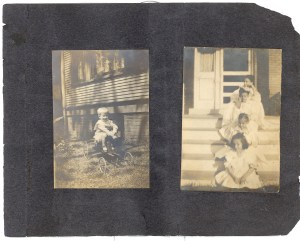 A Green Family Photo Album- Page 3. Gertrude Broida is sitting in the front, and her mother, Bess Dorothy (Green) Broida, may be the woman in the back.