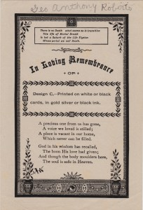 "A sample funeral card with the name ""Geo. A. Roberts"" written at the top. George A. Roberts died 18 Apr 1939."
