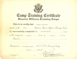 ROTC Camp Training Certificate- Edward A. McMurray, Sr.