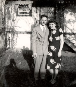 """The Merry Macs"" as she labeled this photo. Mary T. Helbling and her husband, Edward A. McMurray, September 1948."