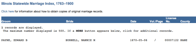 Kane Co IL Marriage Record for EB Payne and Nannie M Burnell.