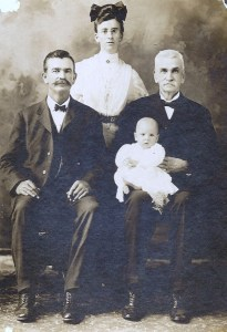 "Four generations of the Roberts family: John Roberts (1832-1922), his son William Edward ""W.E."" Roberts (1858-1935), his grand-daughter Maude Mae Roberts Jensma (1884-1980), and great grandson Edward Jensma (1907-1986)"