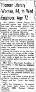 Wedding announcement of Ninetta (Wiley) Eames Payne to Fred Foster Springer, 1937. Oakland Tribune.