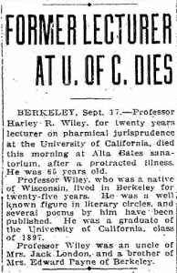 Harley R. Wiley obituary, Oakland Tribune, 17 Sep 1921.