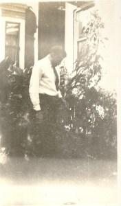 G. W. Helbling in his garden, August 1934.