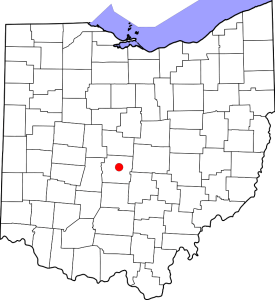 Map of Ohio counties and location of Columbus, Ohio. Wikimedia Commons.